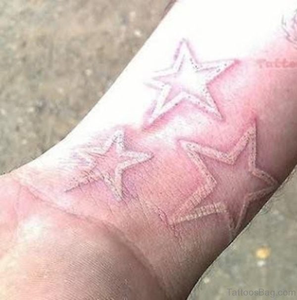 White Ink Star Tattoo