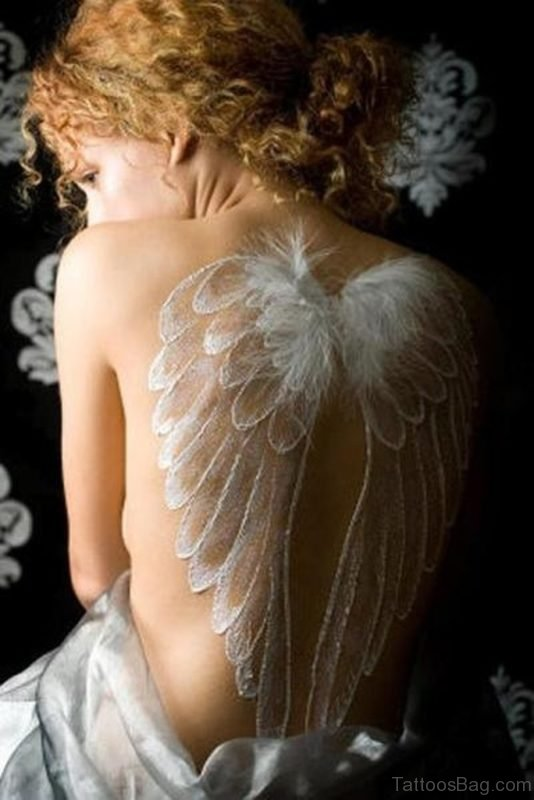 White Ink Wings Tattoo