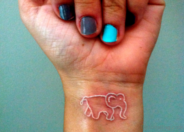 White Inked Elephant Tattoo