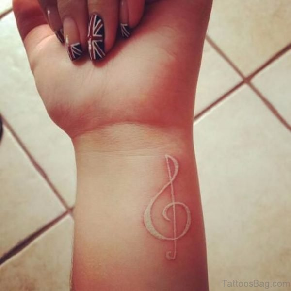White Musical Note Tattoo