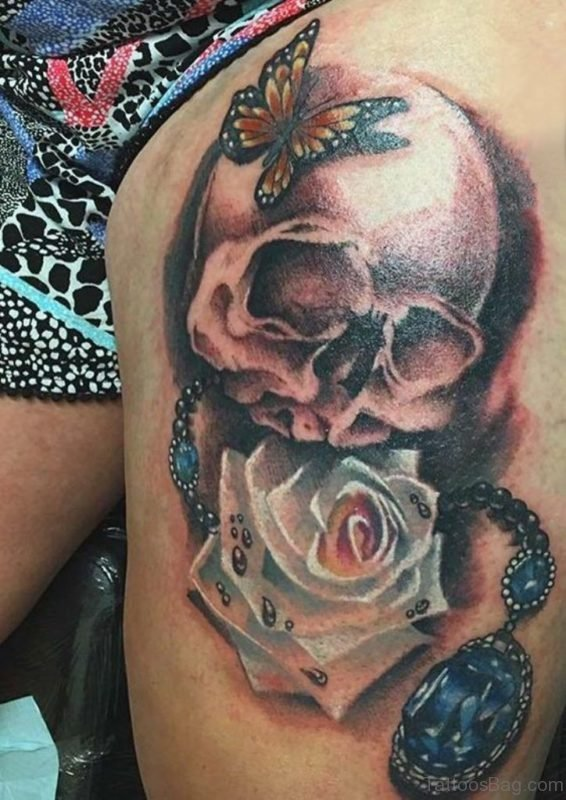 White Rose Skull And Butterfly Tattoo