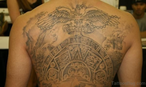 Winger Cross And Aztec Tattoo