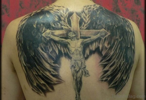 Wings And Jesus Tattoo