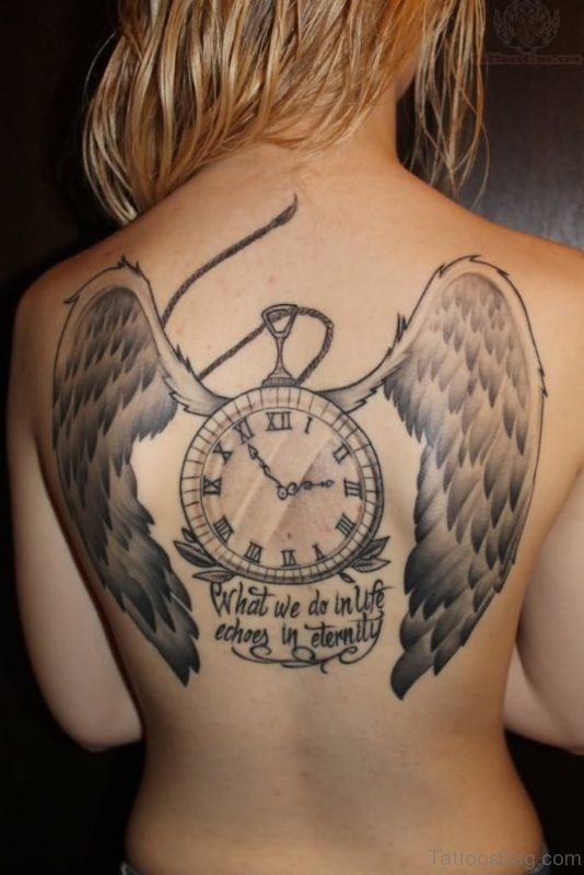 Wings And Clock Tattoo