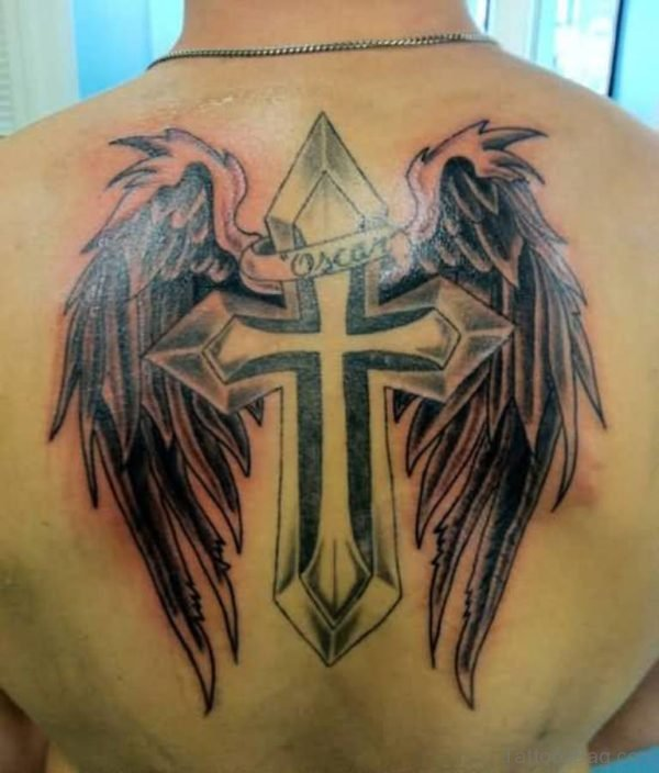 Wings And Cross Tattoo Design