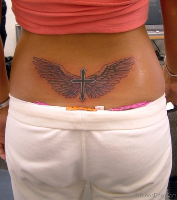 Wings And Cross Tattoo On Lower Back