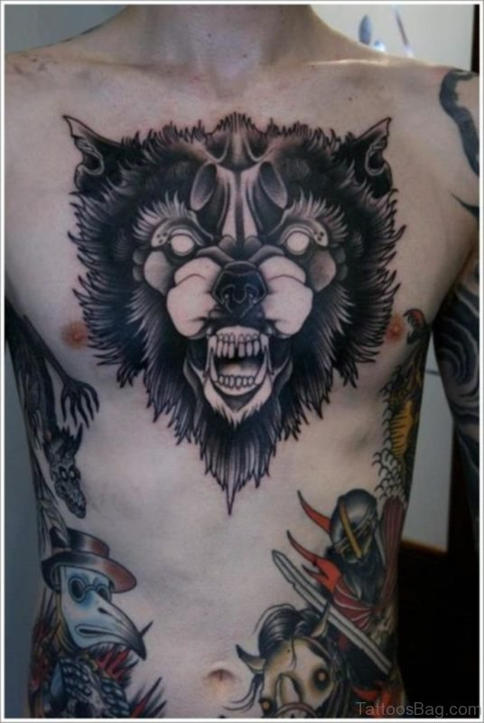 Wolf Face Tattoo On Chest