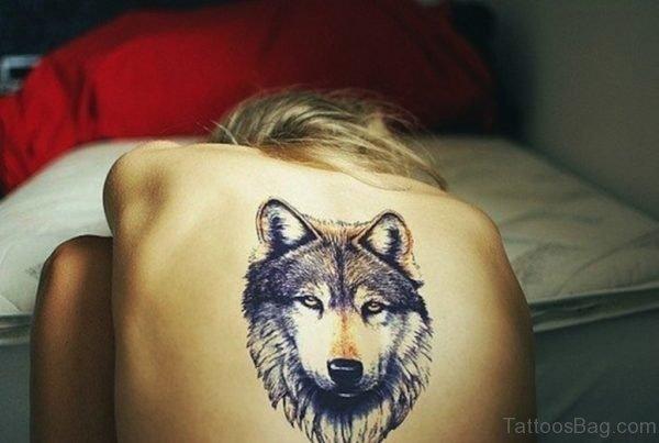 Wolf Tattoo Design On Upper Back