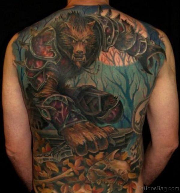 Wolf Tattoo On Full Back