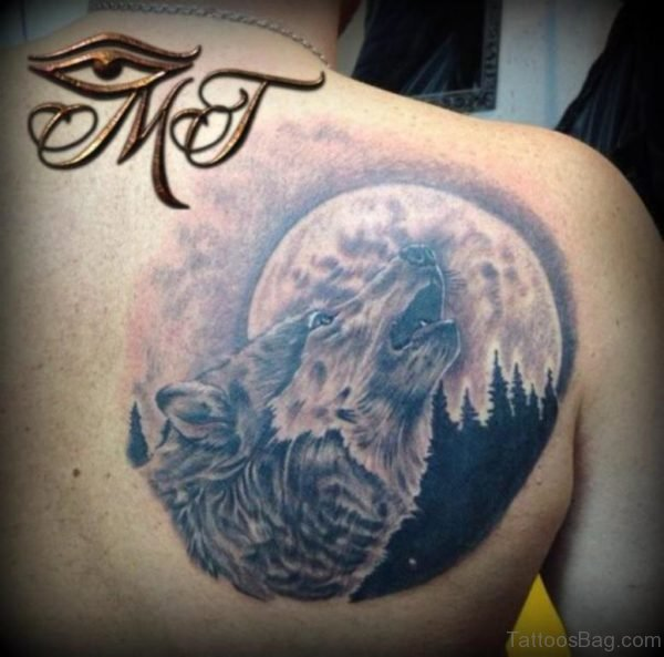 Wolf and Moon Tattoo On Back