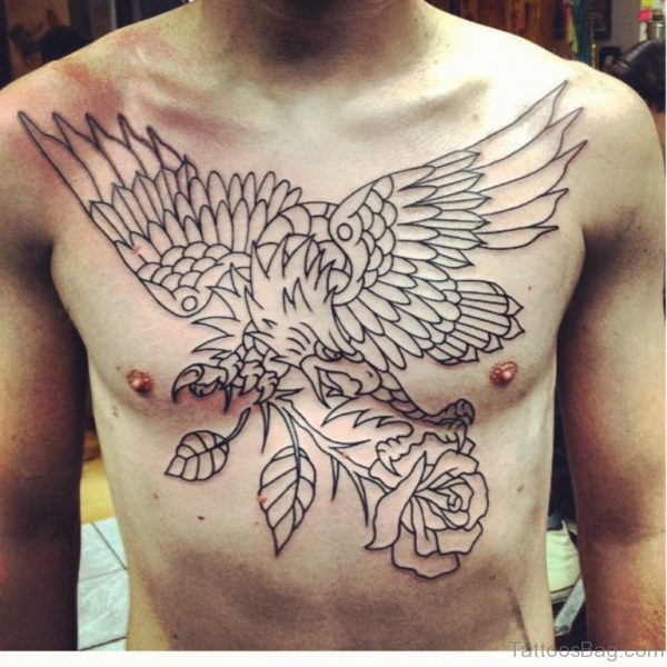 Women Eagle Tattoo On Chest