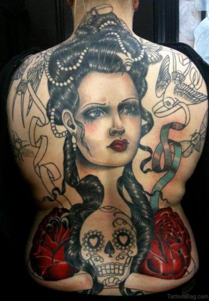 74 marvelous skull tattoos for back for Female skull tattoos