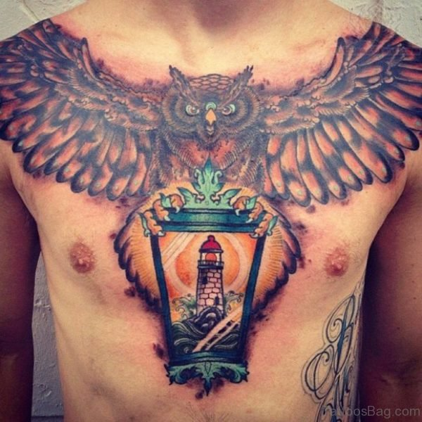 Women Wings Owl Tattoo On Chest