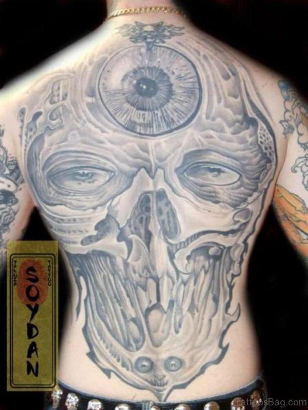 Wonderful Grey Skull Tattoo