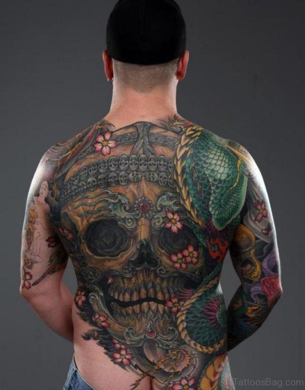 Wonderful Skull Tattoo On Full Back
