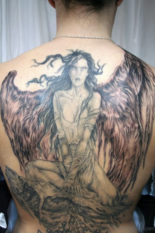 Wonderful Angel Tattoo On Full Back