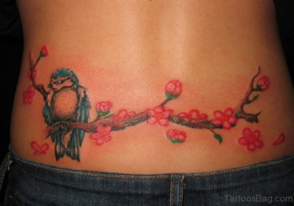 Wonderful Flower And Bird Tattoo
