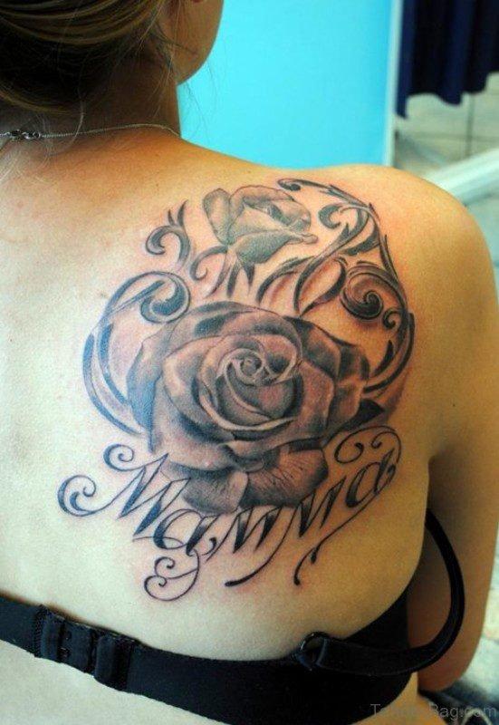 Wonderful Black Flower Tattoo For Shoulder Back