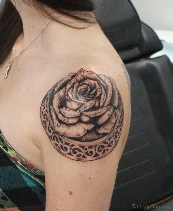Wonderful Black Rose Tattoo For Women
