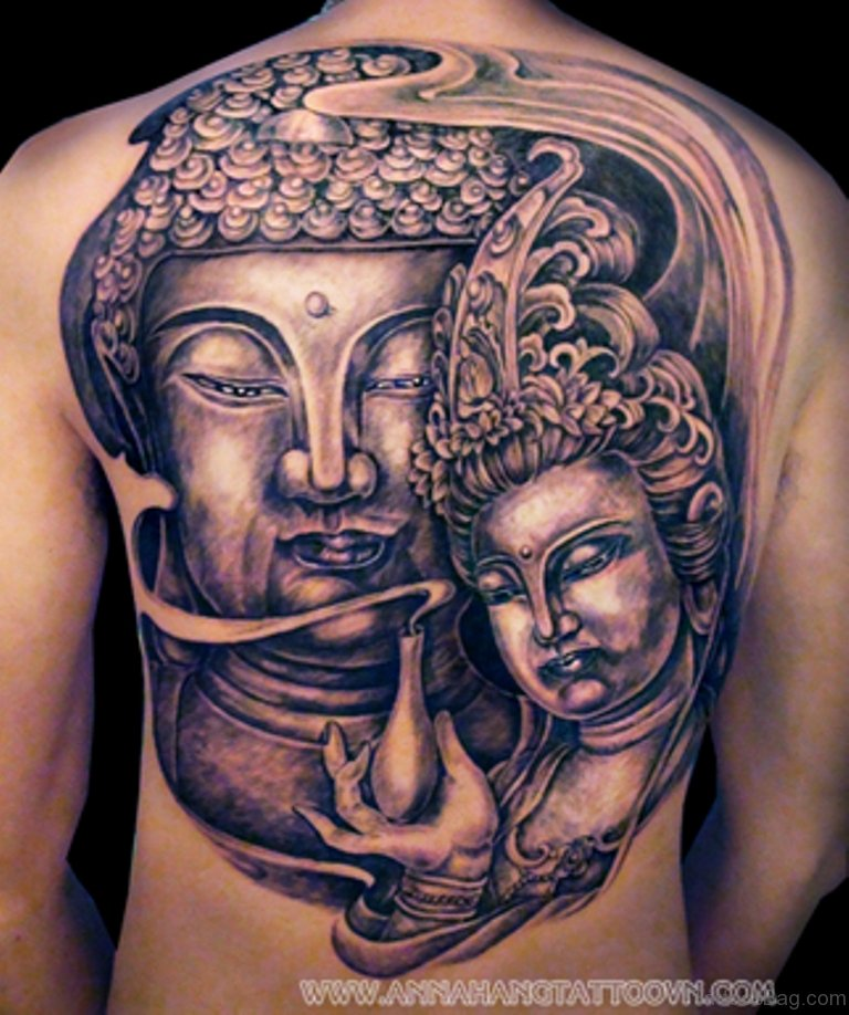 40 exclusive buddhist tattoos for back. Black Bedroom Furniture Sets. Home Design Ideas