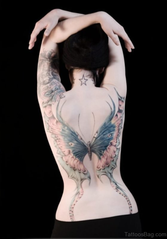 Wonderful Butterfly Tattoo Design On Back