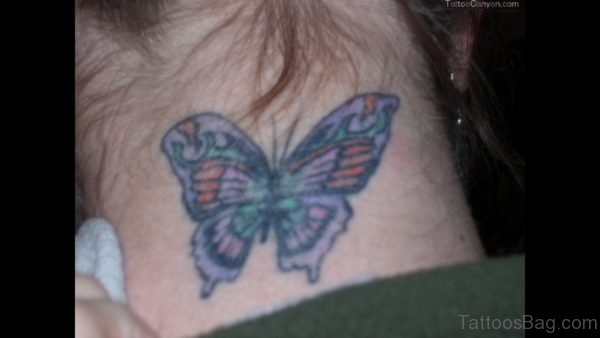 Wonderful Butterfly Tattoo On Neck