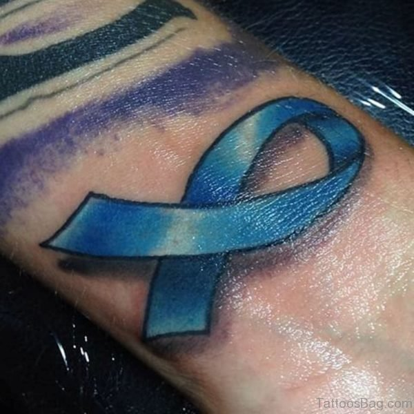 Wonderful Cancer Ribbon Wrist Tattoo