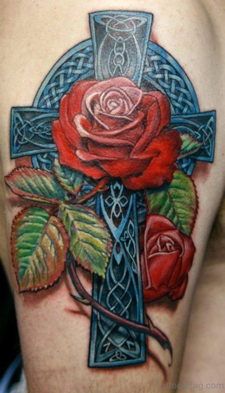 Wonderful Cross And Rose Tattoo
