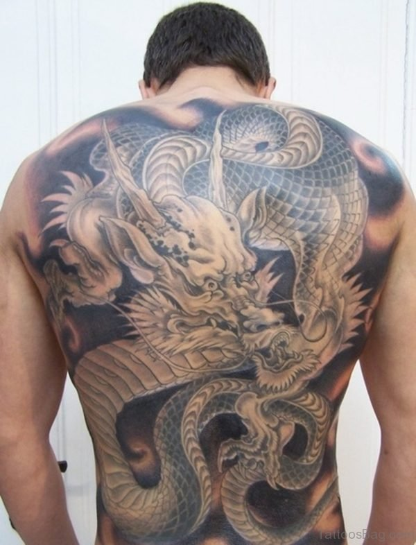 Wonderful Dragon Tattoo On Full Back