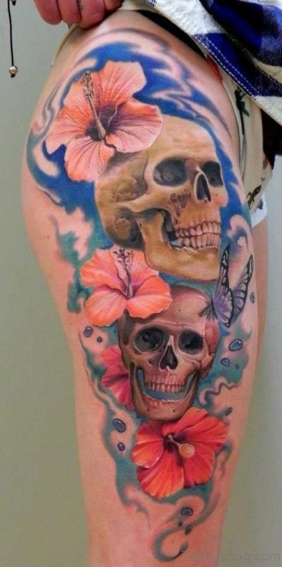 Wonderful Flower And Skull Tattoo