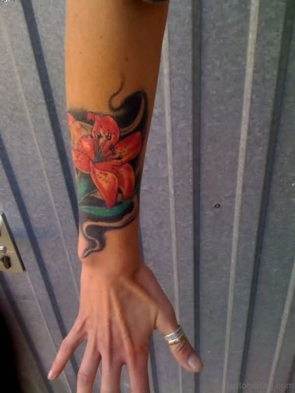 Wonderful Flower And Snake Tattoo