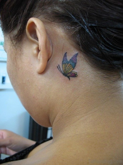 Wonderful Flying Butterfly Tattoo On Neck