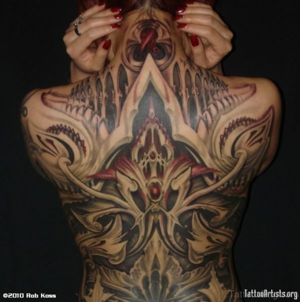 Wonderful Full Back Biomechanical Tattoo Design