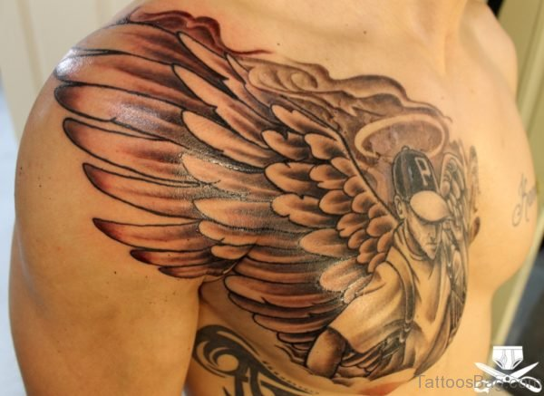 Wonderful Grey Ink Angel Chest Tattoo