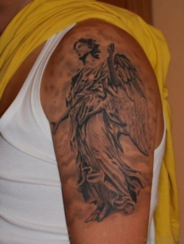 Wonderful Guardian Angel Shoulder Tattoo