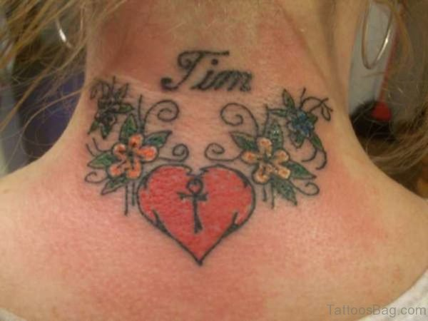 Wonderful Heart Tattoo On Neck