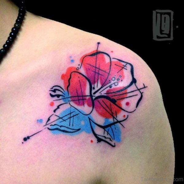 Wonderful Hibiscus Shoulder Tattoo