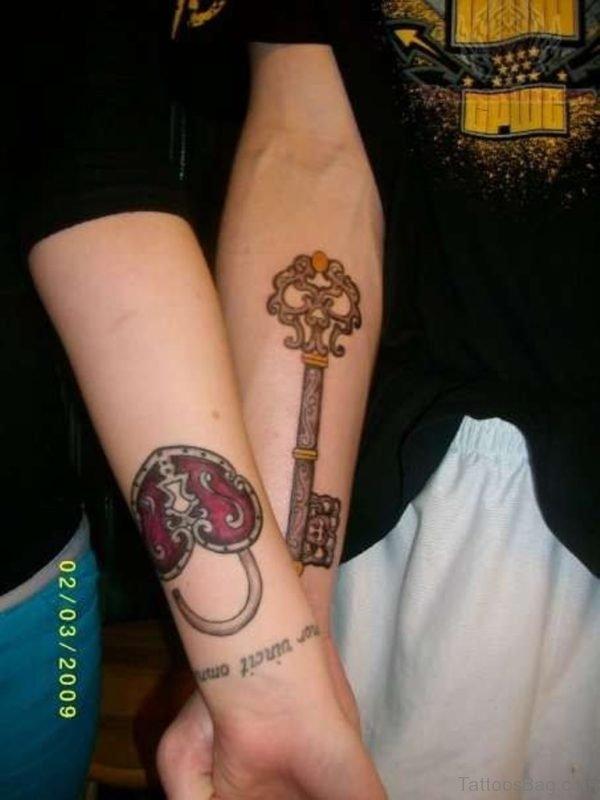 Wonderful Lock And Key Tattoo