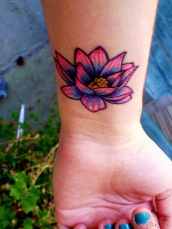 Wonderful Lotus Tattoo On Wrist