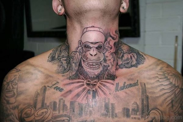 Wonderful Monkey Neck Tattoo