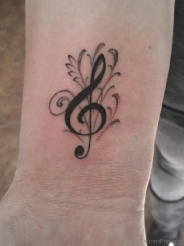 Wonderful Music  Note Tattoo On Wrist