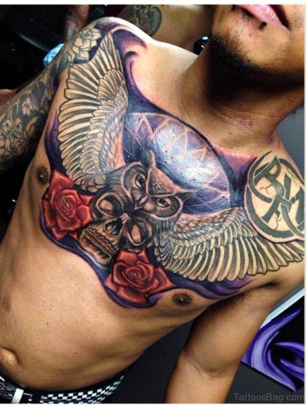 Wonderful Owl Bird Tattoo On Chest