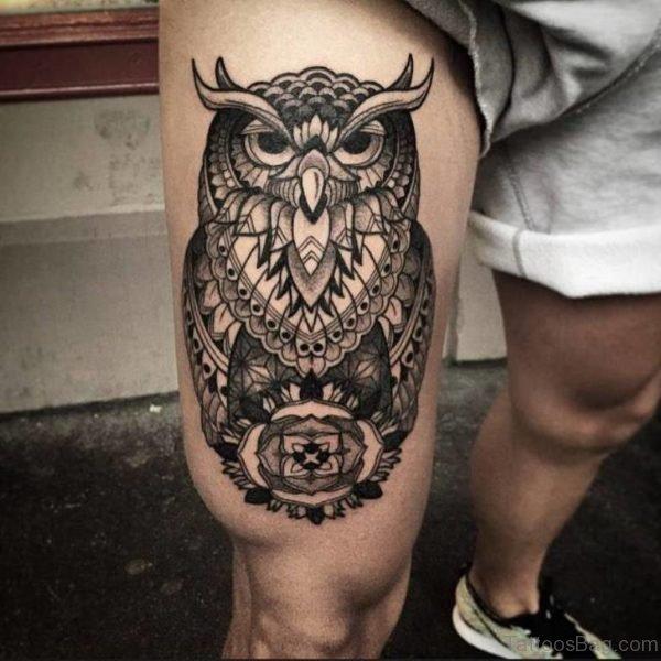 Wonderful Owl Tattoo On Thigh