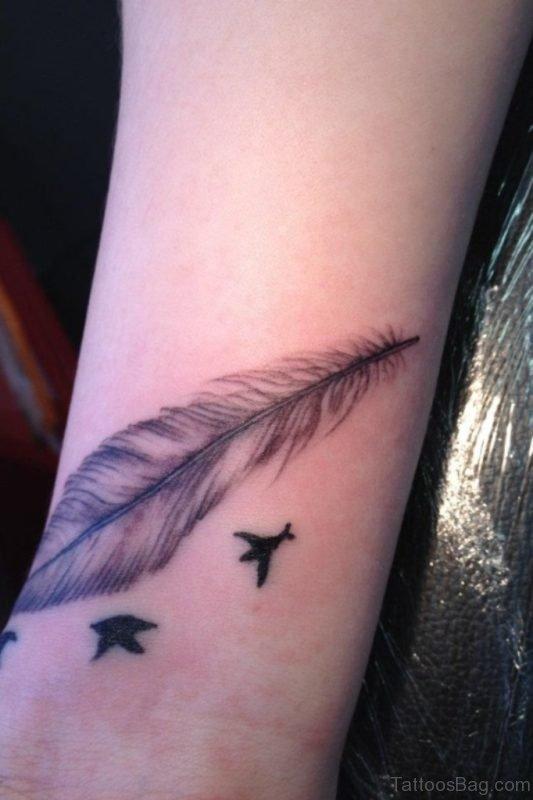 Wonderful Peacock Feather Wrist Tattoo