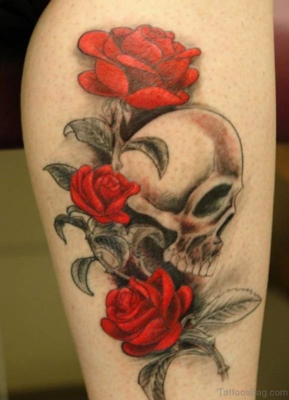 Wonderful Red Rose And Skull Tattoo