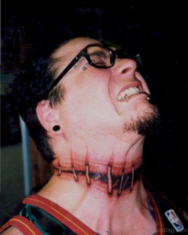 Wonderful Ripped Skin Tattoo On neck