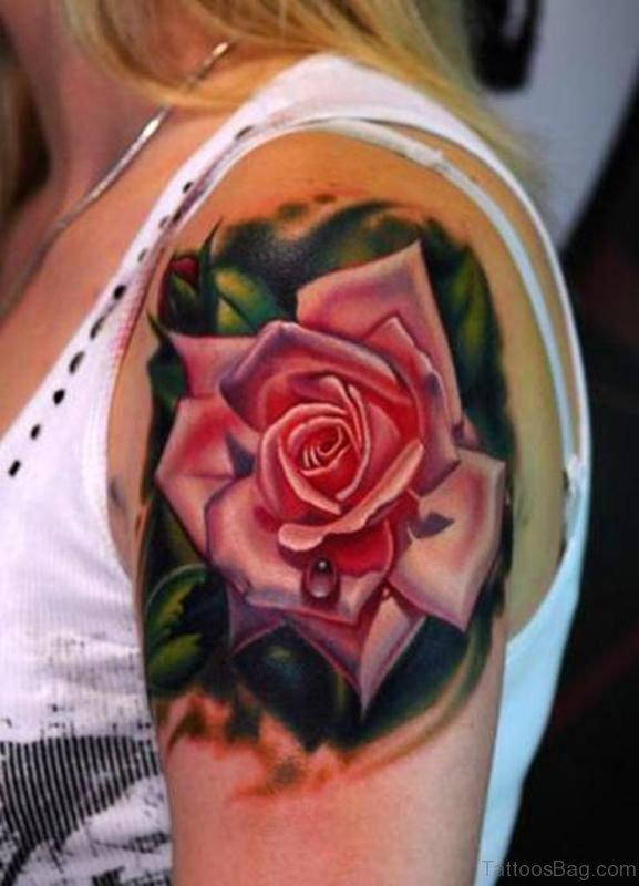 Wonderful Rose Shoulder Tattoo