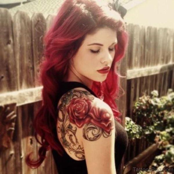 Wonderful Rose Tattoo On Shoulder