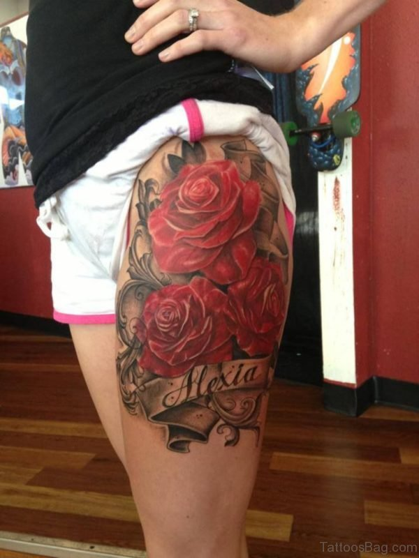 Wonderful Rose Tattoo On Thigh