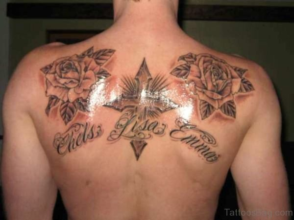 Wonderful Roses And Cross Tattoo